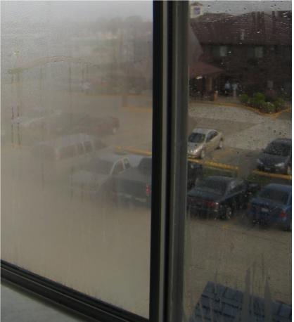 fogged up window